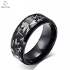 Men Black Blue Camo Picture Pure Titanium Steel Ring