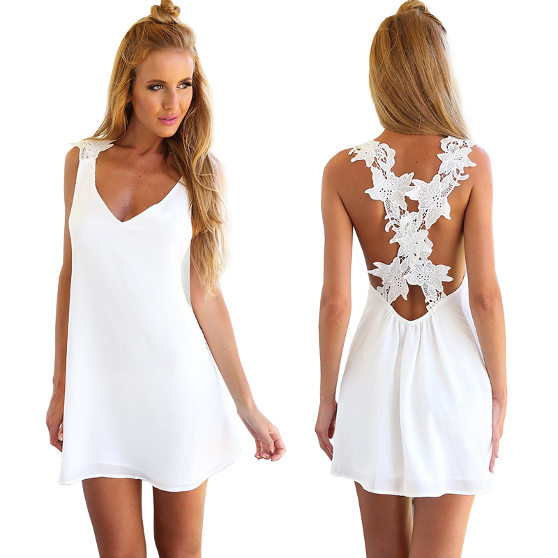 abd37674f03 Get Quotations · Summer White Chiffon Lace Dress Sexy V Neck Crochet Halter  Dress Bikini Swimwear Cover Up Beach