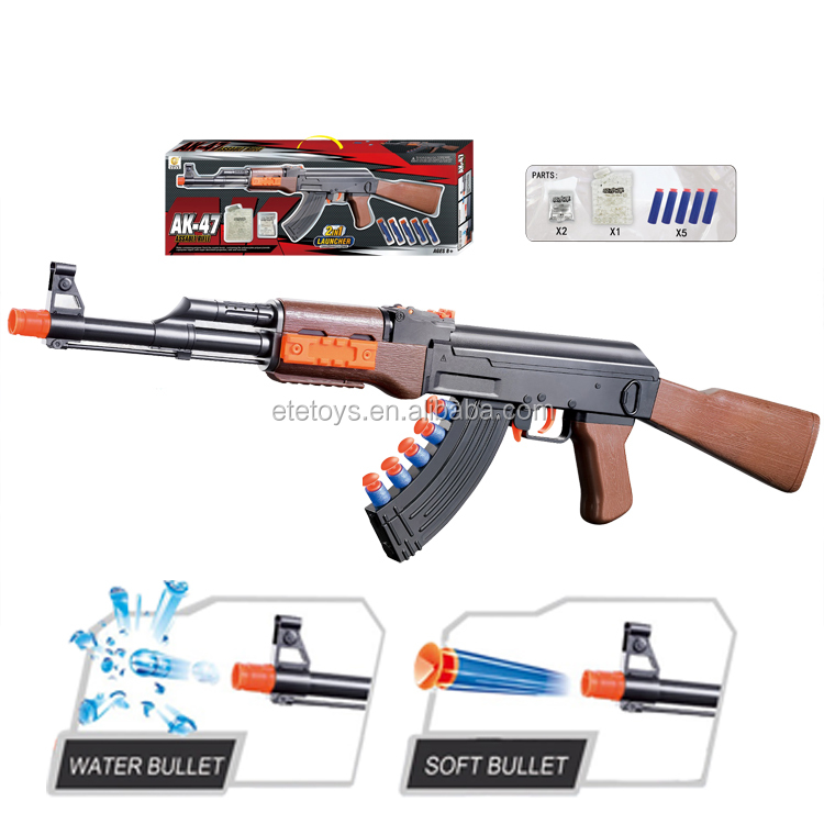 Plastic AK-47 water guns with bullet soft crystal summer toys for children