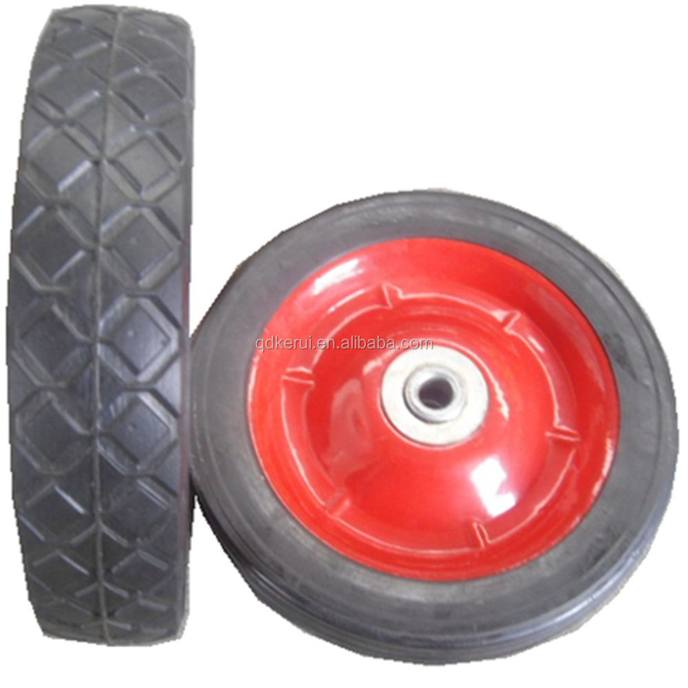 lawn mower solid rubber wheel 7x1.5 offset steel hub semi pneumatic