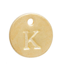 "Zinc Based Alloy Charms Round Gold Plated Alphabet /Letter "" K "" 12mm Dia"