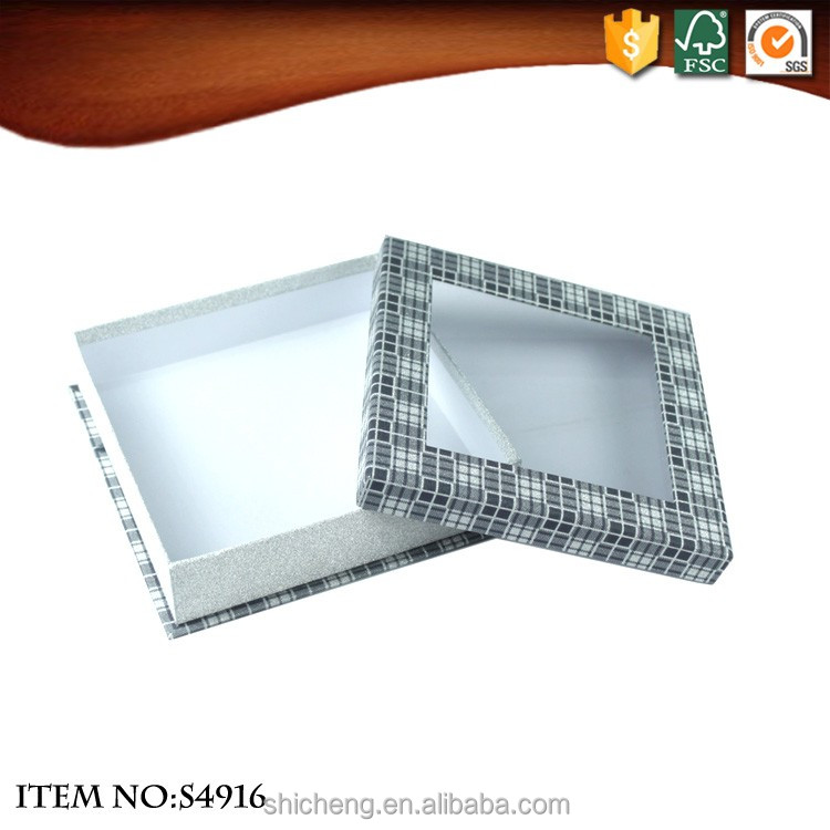 Square cardboard gift package box with PVC window