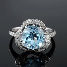 Fashion Jewelry Aquamarine 925 Sterling Silver Vogue Jewelry Wedding Tat Rings