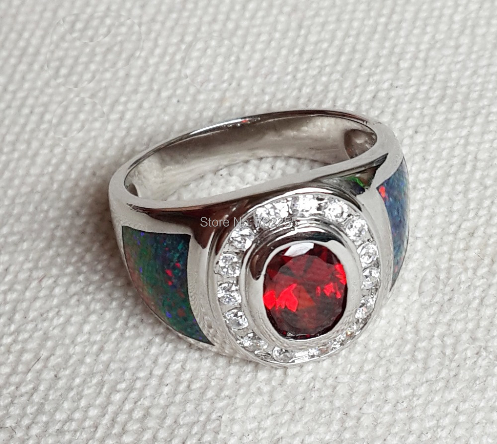 Cool Blue Fire Opal Ring For Men Free Shipping-in Wedding