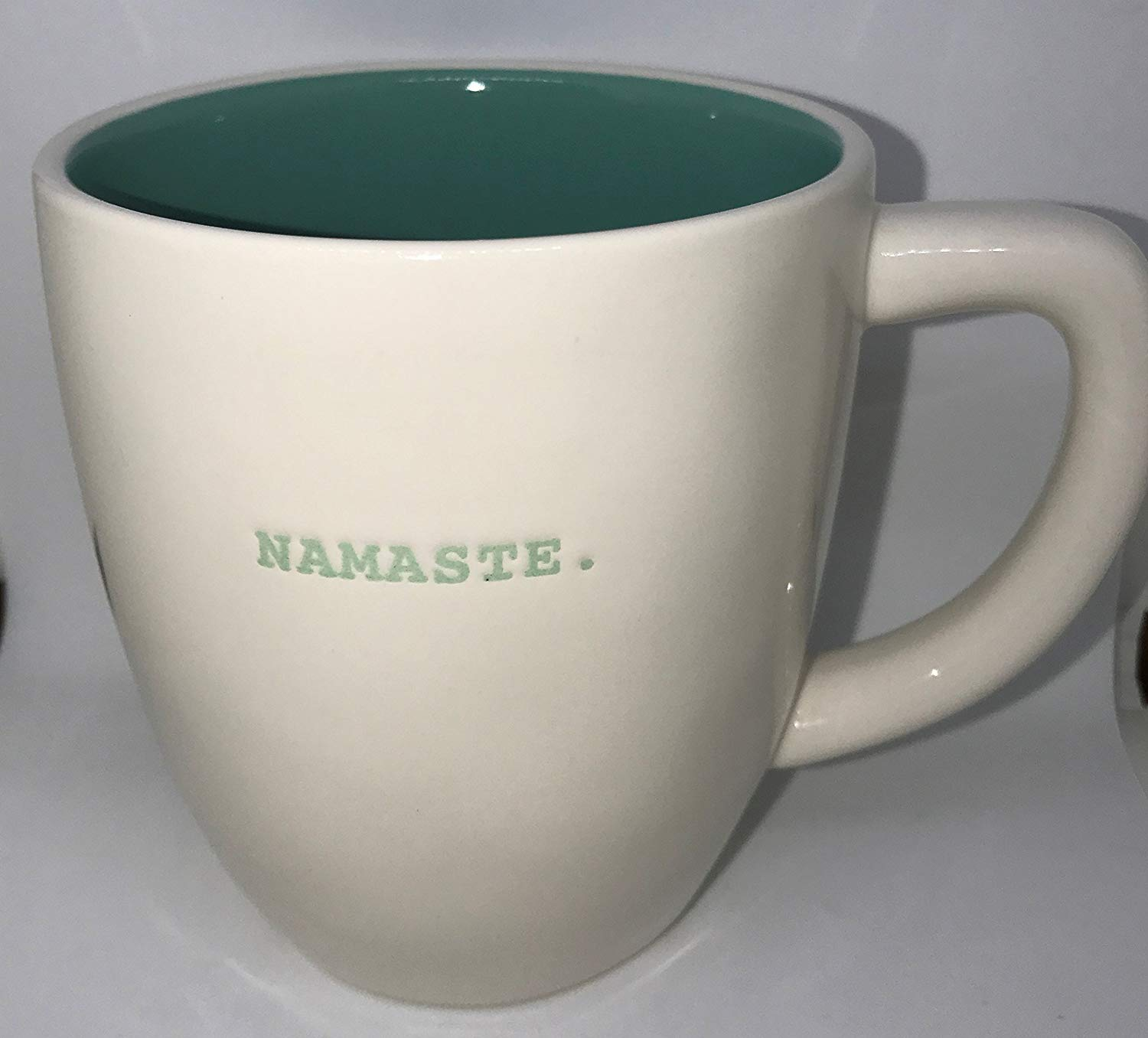 RARE Rae Dunn by Magenta NAMASTE in Blue Typeset with blue interior cofee tea soup mug cup