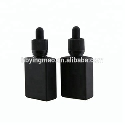 YM 30ml matte frosted dark black rectangle e-liquid vape oils glass dropper bottles