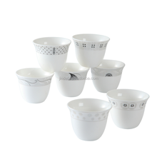 12pcs set white printing design logo ceramic cawa cups set arabic small coffee cups