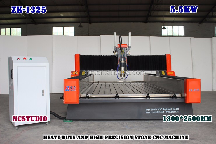 Heavy Duty Marble Stone Carving CNC Router Machine ZK-1325 1300*2500mm With PCI NCStudio Control System 380V 5.5Kw Spindle