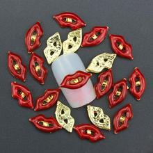 10 Pcs Glitter Gold Red Lips 3D Rhinestones For Nail Art Decorations On Gel Polish DIY
