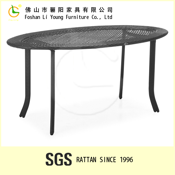 Chinese style simple design oval shape glass top rattan pool dining table , restoring ancient ways rattan modern home furniture