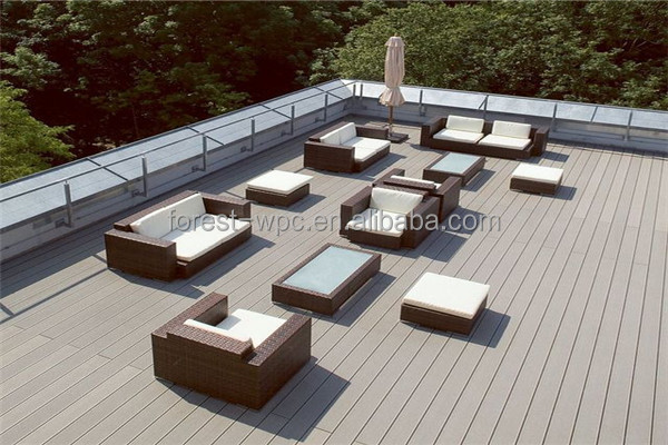 Co-extrusion hollow and grooved composite wood free maintain wood texture outdoor veneer decking