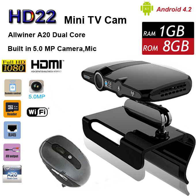 NEW Android Mini PC With 5.0MP Camera Dual Core Smart TV BOX 4.2 Dual Core HD22 WIFI Chromecast Miracast DLNA Pre Installed XBMC