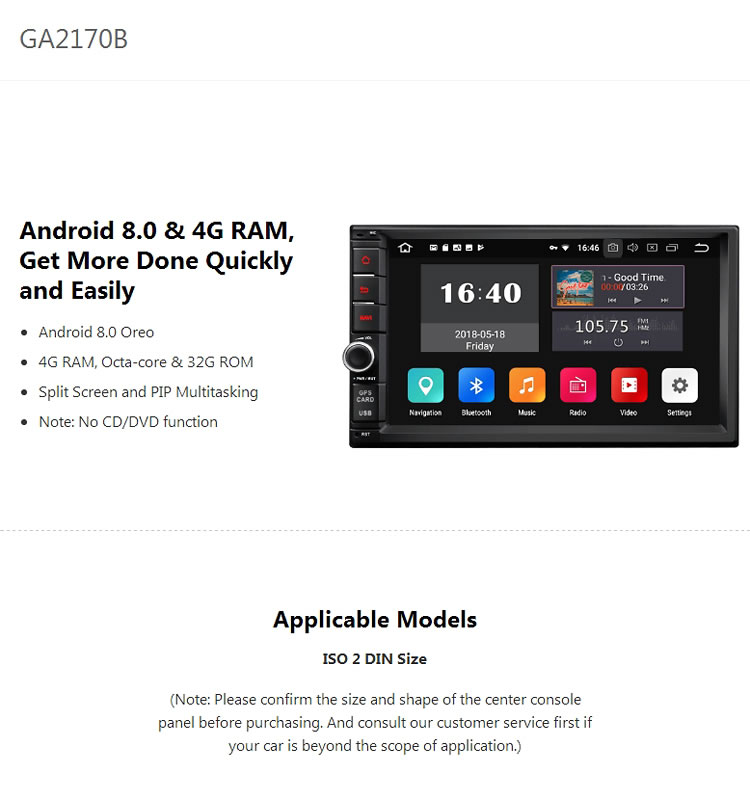 Eonon Ga2170b 2-din Universal Android 8 0 4gb Ram Octa-core 32gb Rom 7inch  Car Radio Dvd Gps Navigator (without Dvd Function) - Buy Android 8 0 Car