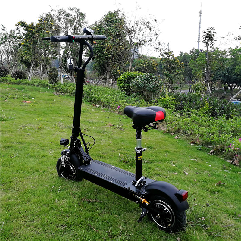 2400W 52V 1000W 48V Hub Brushless Motor Adult Foldable Electric Scooter 1200W With Seat, Black