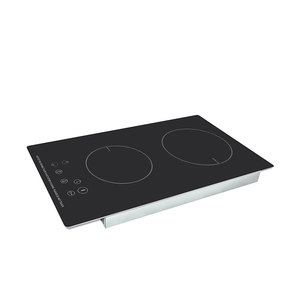 Two burner metal frame induction hob with smart control panel, cookware induction
