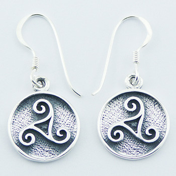 b17c52af0 Sterling Silver Irish Celtic Triskele Triple Spiral Dangle Earrings ...