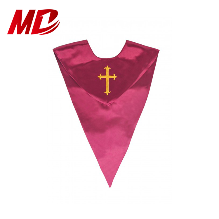 Finest quality Triangle shape Maroon Gold Choir Stole