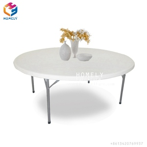White Cheap hotel Banquet 8ft Folding Plastic Round Table