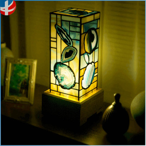Fancy Tiffany gemstone agate onyx lighting lamp stained glass