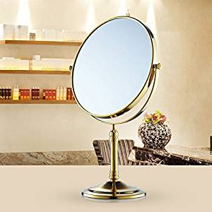 Desktop mirror copper and antique-style mirror double sided three times magnifying vanity mirror gold 8-inch mirror Golden section