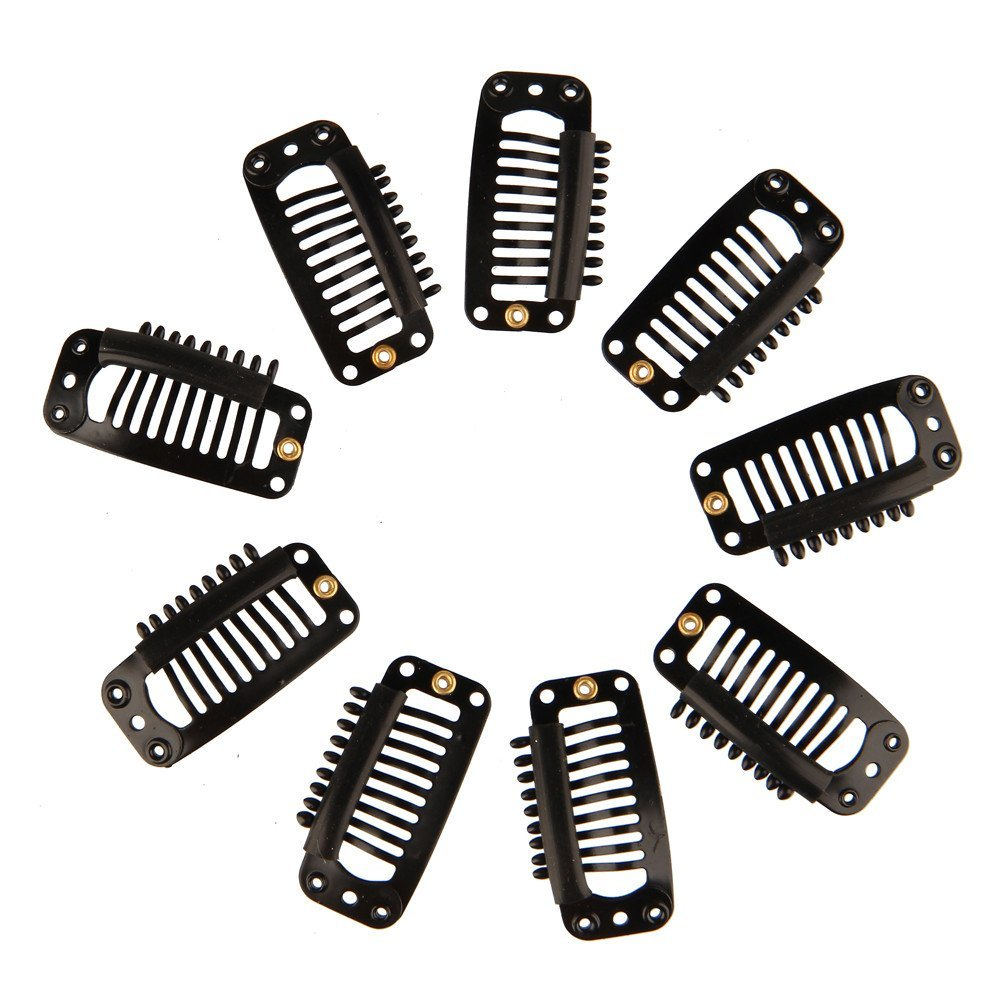 Beauty7 Black 9-Teeth Metal Snap-Comb Clips With Rubber for Hair Extension Wigs Weft Hairpiece Feather DIY 3.2cm (50PCS)
