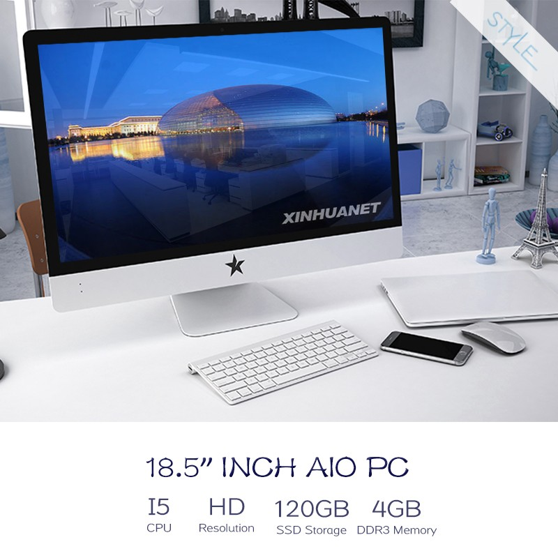 "made in china factory 18.5"" quad core Intel i5 1080P all-in-one PC 4GB 500G 1TB DDR3 desktop laptop <strong>computer</strong> all in one pc"