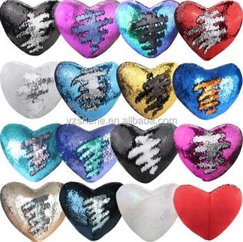 Heart Shaped Design Sequin Mermaid Pillow Plush Case Cover