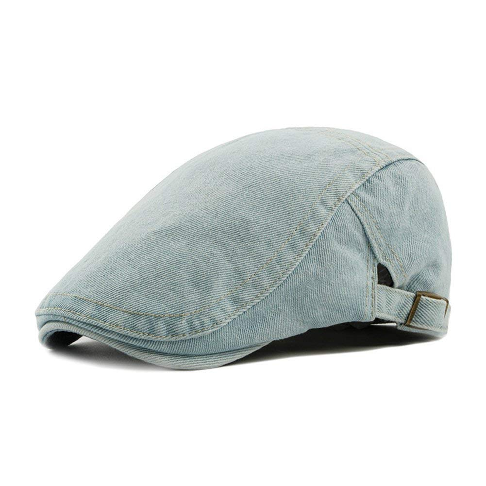 6aeb73dfe81 Get Quotations · MAOJI Blue Washed Jeans Denim Fabric Button Fake Pocket  Flat Cap