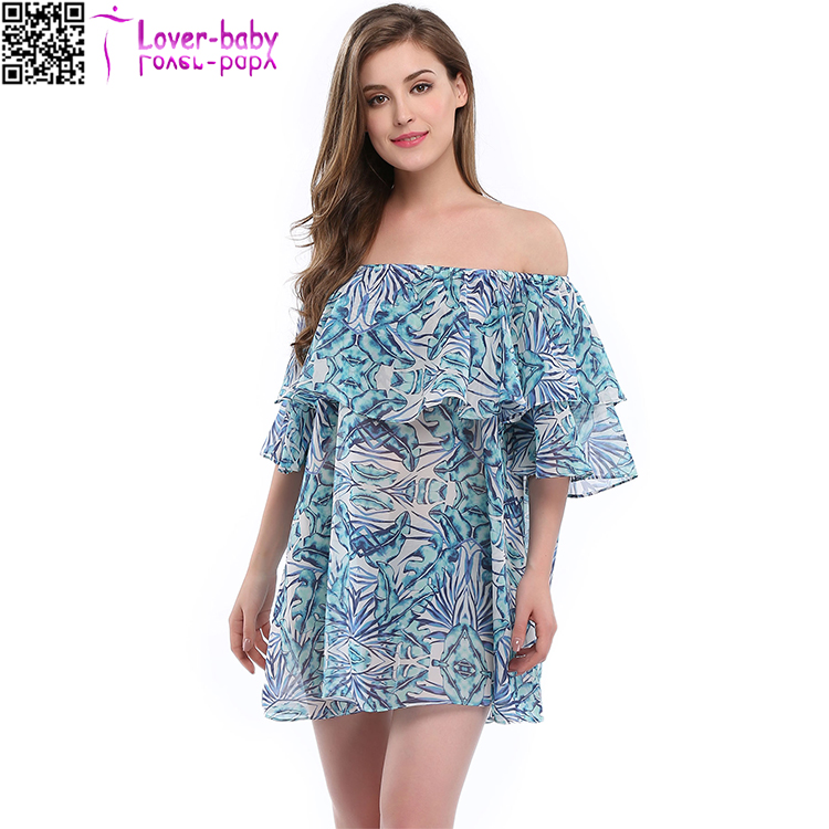New <strong>Sexy</strong> off shoulder blue print tunics beach cover up women swimsuit TY1018