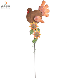 Thanksgiving Harvest Decorations Wooden Metal Garden Stake with Decorative Turkey and Sunflower