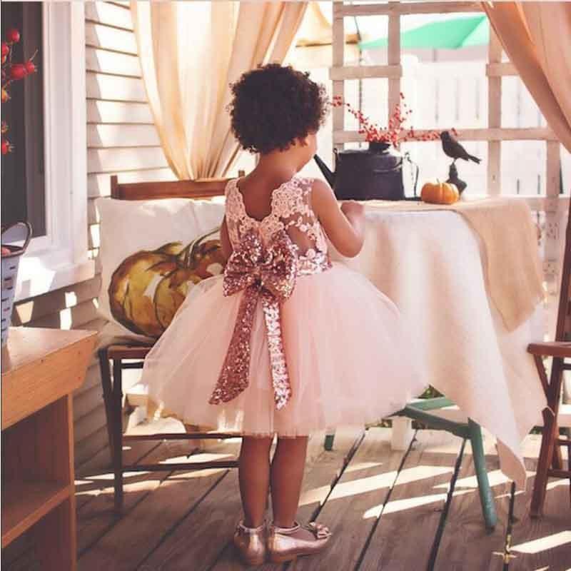 3f8364b74d 2017 Summer Lace Sleeveless Girl Dress Baby Girl Sequins Bow ...