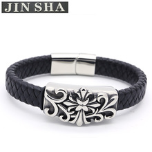 Hot Sale Stainless Steel Mens Magnetic Clasp Leather Bangle Bracelet