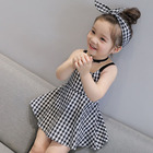 EG-LES 132 plaid linen cotton summer kids clothes girl dress for girl 2-10 year