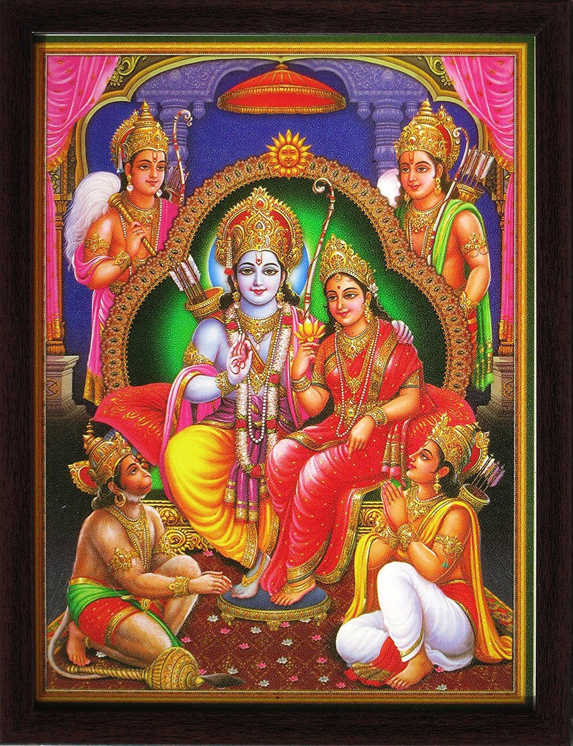 Lord Sita Ram sitting on throne and Lord Hanuman and ram brother worshiping him, A Holy Hindu Religious Poster painting with frame for Worship purpose