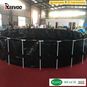 Reevoo foldable fish ponds folding fish farm breeding round tank with frame