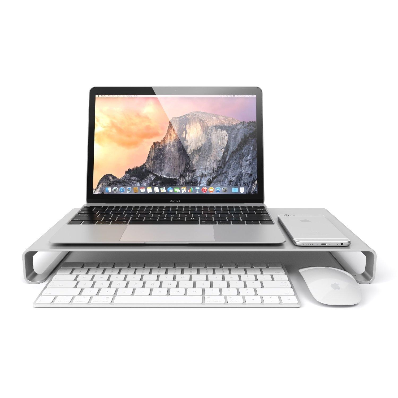 Eplze Aluminum Alloy Monitor Stand Laptop Riser Shelf for iMac Macbook Computer Desktop Screen Stand Universal Aluminum Unibody Monitor / Laptop / iMac / PC Stand. (Big (49215))