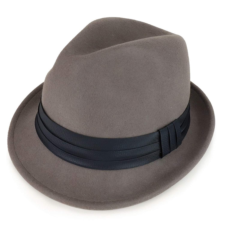ef9264512fa23 Get Quotations · XXL Big Size Wool Felt 2 Inch Brim Trilby Fedora Hat with  Satin Hat Band