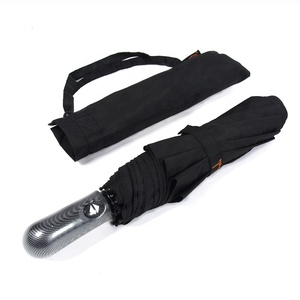 RST plain black business auto open and close 3 folding umbrella windproof big travel umbrella