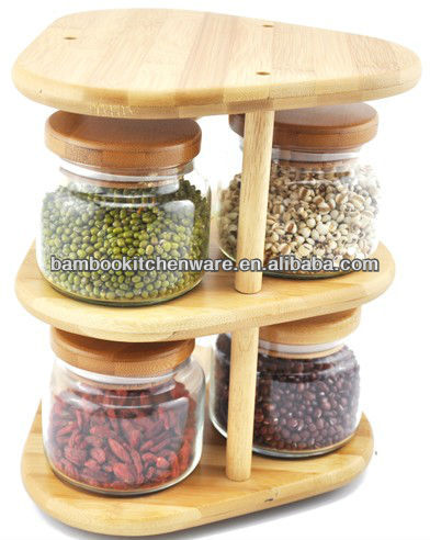 Two tiers Bamboo Canister Set For Preserving Food
