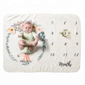 Baby Monthly Milestone Blanket Photography Props Backdrop for Newborn Boy Girl, Infant Newborn Baby Swaddle Month Blanket