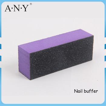 Nail Art Manicure Polishing Purple Sponge 3 Way Buffer