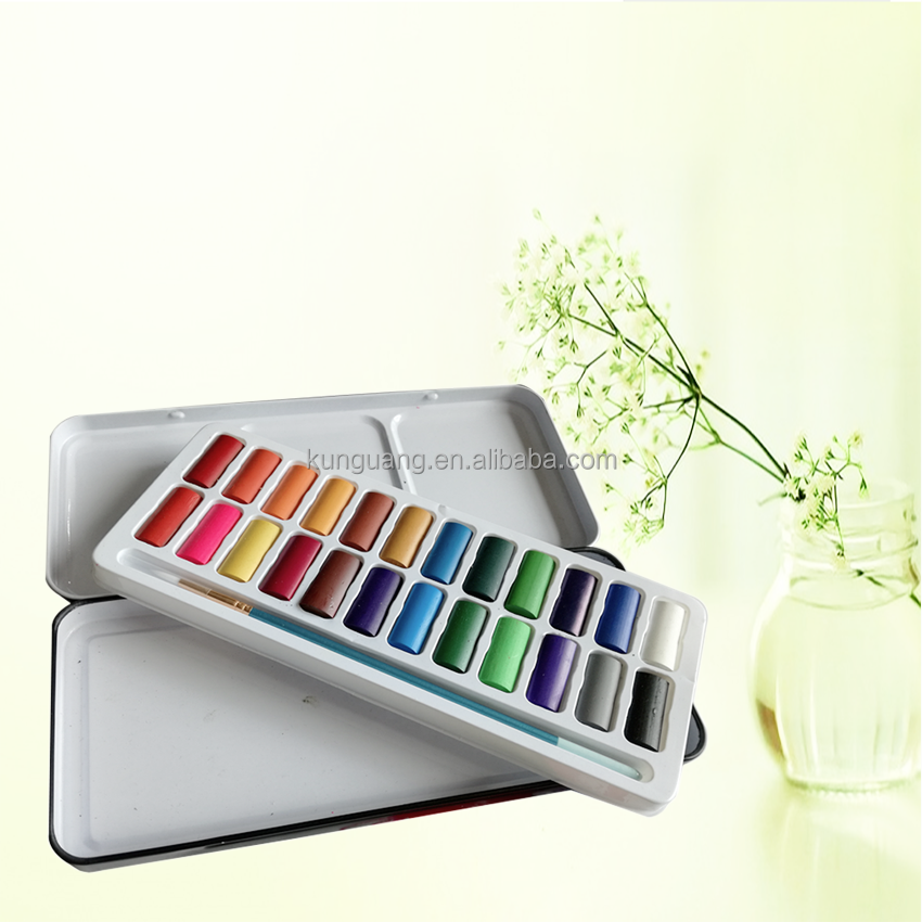 Wholesale Art Supplies 24 Colors Watercolor Paint Set with Water Brush