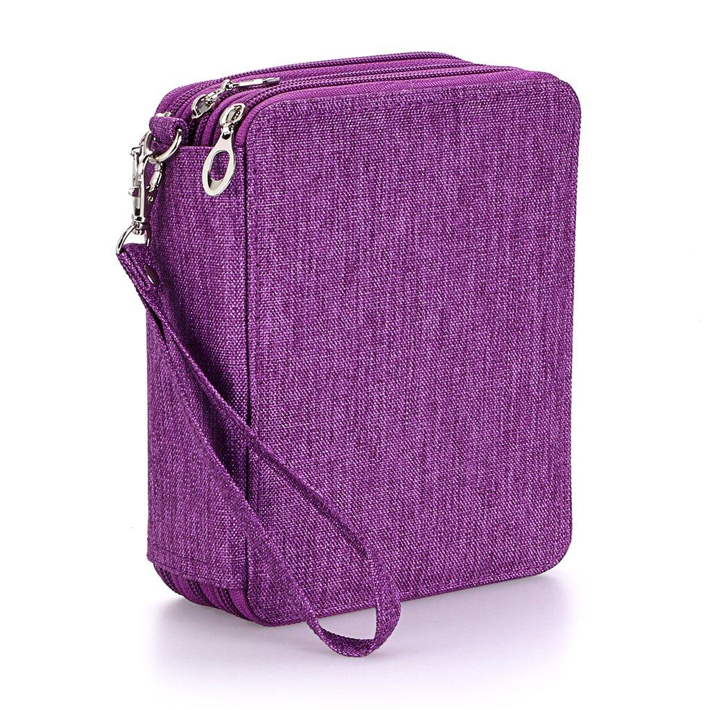 BTSKY Zippered Pencil Case--Canvas 72 Slots Handy Pencil Holders for for Prismacolor Watercolor Pencils, Crayola Colored Pencils, Marco Pencils (Purple)