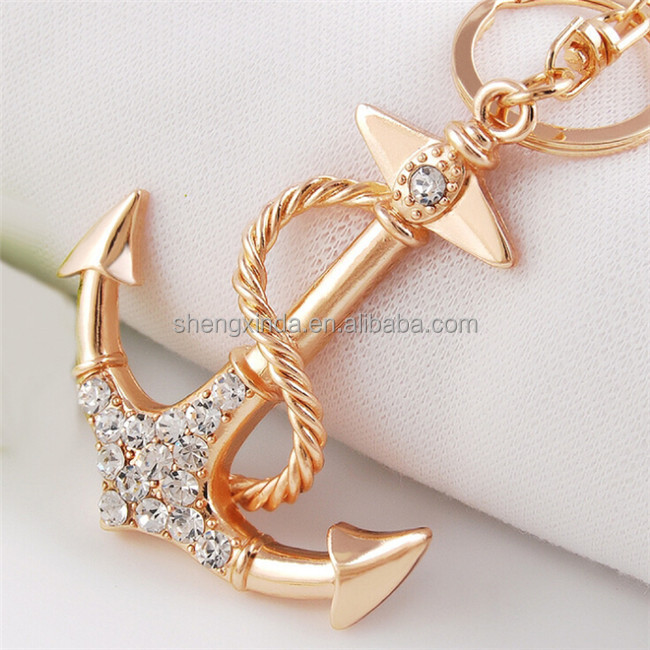 factory cheap crystal keychain golden jeweled anchor key ring