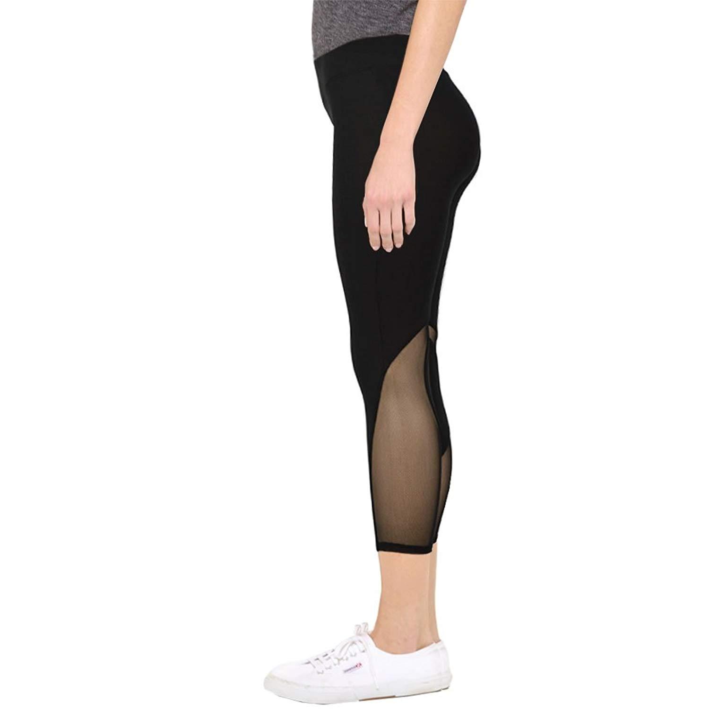116f3074da685 Get Quotations · LAVRA Women's Mesh Panel Leggings Regular Plus Sizes  Regular Plus Sizes