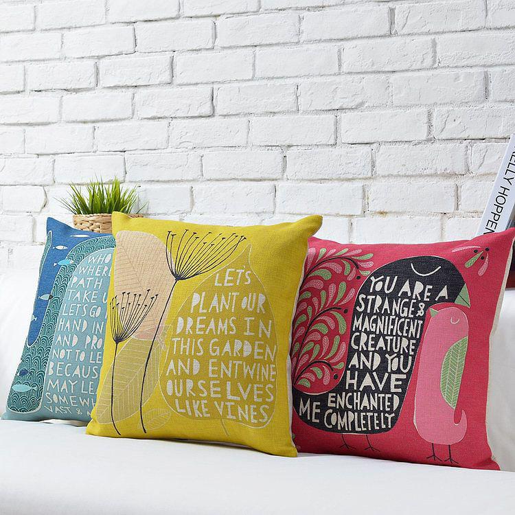 Wholesale Free Shipping Alphabet Pillow Home Decor Scandinavian simplicity Cushion Pillow Dandelion Illustration Pillow Covers