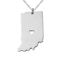 SJUSASN023 SJ New Product Wholesale Fashionable Handcrafted USA Indiana State Outline Rhodium Plated Brass Map Necklace