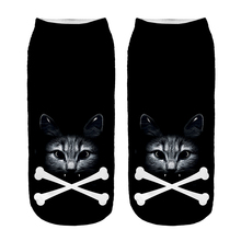 Free Shipping Hot Sale 3D Socks Poison Cat Pattern Black Color Cozy Socks Thin Comfortable Socks