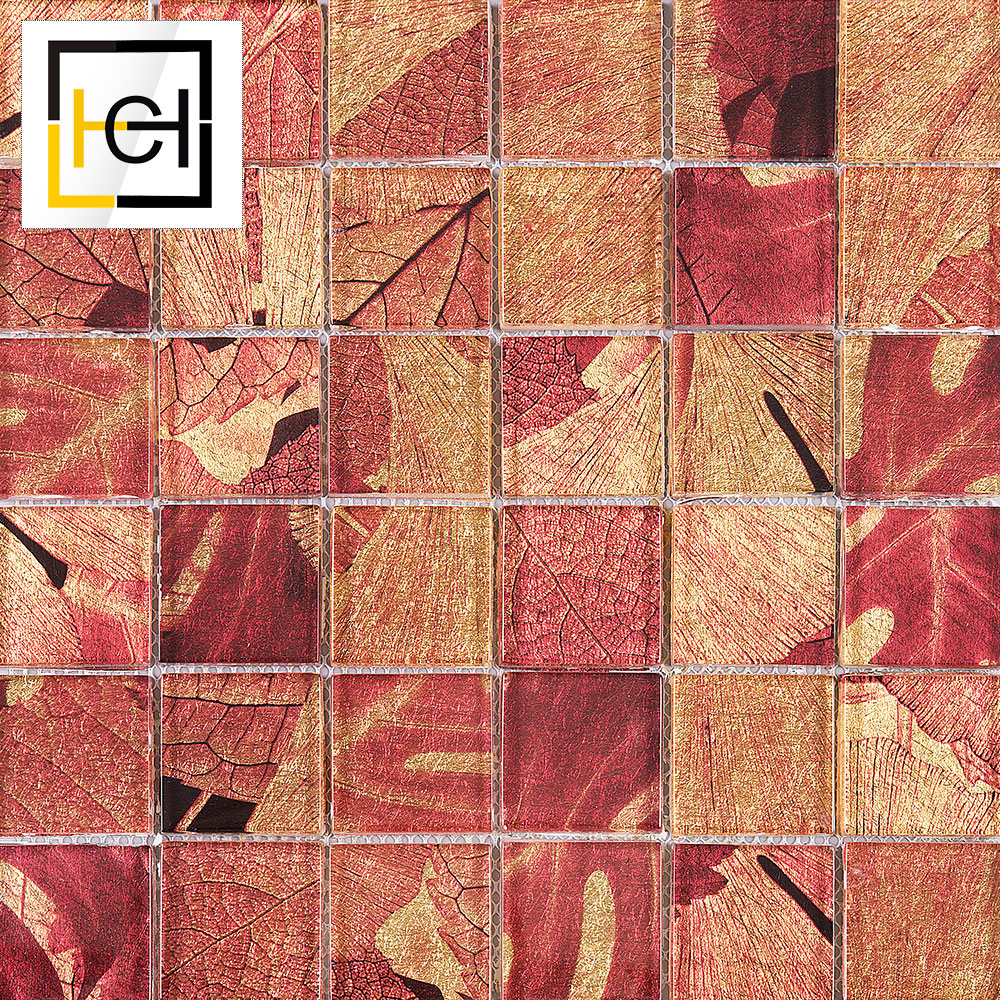 Hot Selling Trendy Design Artistic Interior Wall Home Decor Leaf Glass Mosaic Tile Pattern