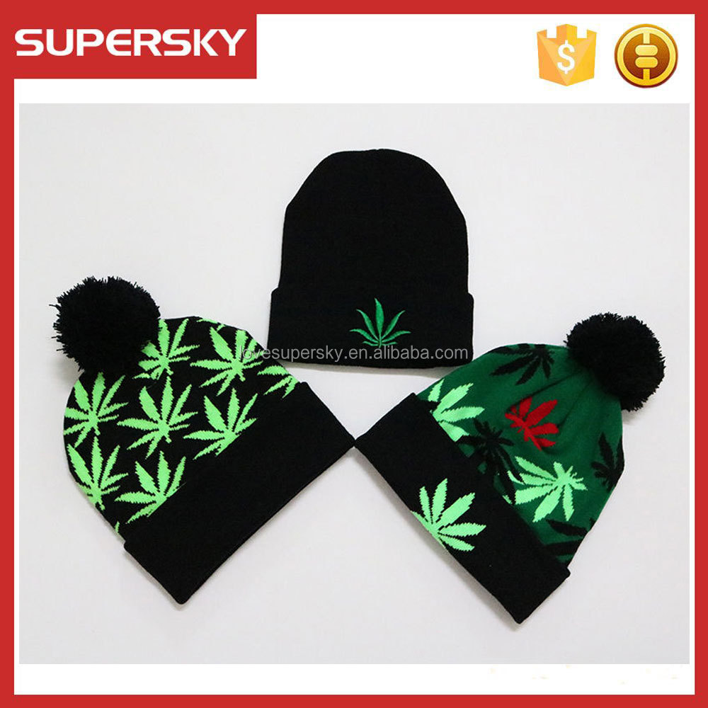 E341 Black Marijuana Rasta Weeds Leaf Pom Hemp Pot Knit Beanie Skull Cap Hat Ski Warm